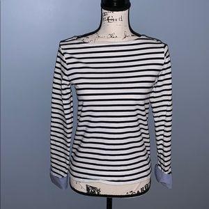 J CREW white & black striped long sleeve t-shirt